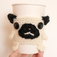 Pug Coffee Cup Cozy - made to order