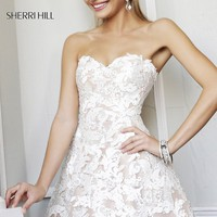 Short Strapless Ivory Lace Dress