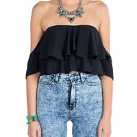 Off The Shoulder Ruffle Crop Top - Black