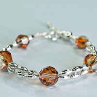 Swarovski Crystal Bead Bracelet Honey Orange Glamour by DevikaBox