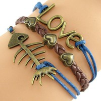 Retro Love & Fish Bones Faux Leather Wrap Bracelet