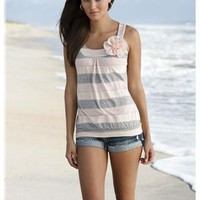 STRIPE TANK WITH CHIFFON FLOWER TRIM | Body Central