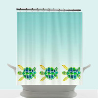 Swimming Sea Turtles Shower Curtain - Baby turtles - cute Watercolor Art, Surf, beach, surfer, blue, teen decor, ombre bathroom