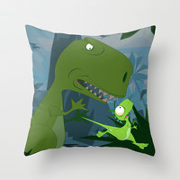 Elbert the Dinosaur Throw Pillow by Jonathan Wilson