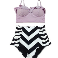 Lavender Midkini Top and White/Black Zig Zag Highwaisted High Waisted Waist Swimsuit Swimwear Bathing suit Swim Swimming Clothing S M L