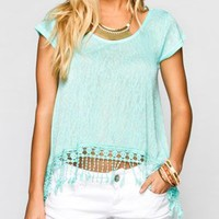 MINE Lattice Back Womens Fringe Top