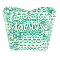 Mint Tribal Crop Top