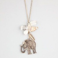 Full Tilt Elephant Leaf Charm Necklace Gold One Size For Women 23414962101