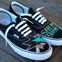 Hand Painted San Jose Sharks Black Canvas Era Vans Skate Shoes