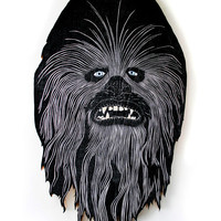 Chewbacca Woodcut Sculpture Print
