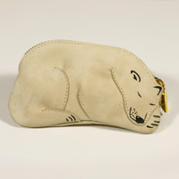 Polar Bear Sleeping Bear Leather Pouch