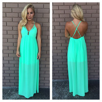 Starry Eyed Maxi Dress- Neon Mint