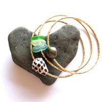 3 Gold Bangles, 1 Tahitian Pearl, 1 Hawaiian Shell, 1 Sea glass, Thick, Hammered Bracelet, Hawaii Beach Jewelry