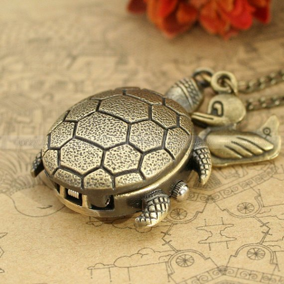 Vintage turtle pocket watch necklace with duck by luckyvicky
