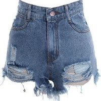 Burr Hole, to Do the Old Denim Shorts (L)