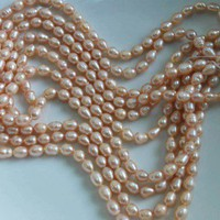 5 Strands Natural Genuine Pink Fresh Water Pearls More Than 250 6-7mm - Freshwater
