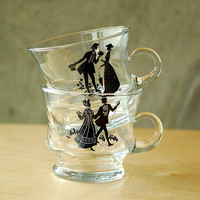 Vintage Glass Teacups Gentleman & Lady by vint on Etsy