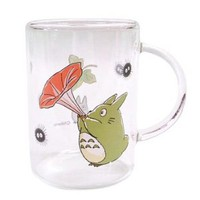 Totoro Glass Mug: Red Flower: Home & Garden