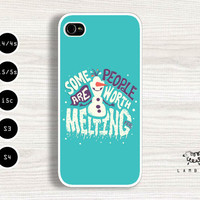 "iPhone 5/5s, 5c, 4/4s & Samsung Galaxy S4, S3 Cases | Disney / Frozen Movie / Olaf / ""Some people are worth melting for."" iPhone 5 Case"