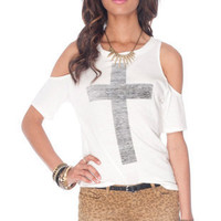 Cold Cross T-Shirt in White :: tobi