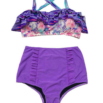 Pink Violet Flora Top and Fringe High waisted Shorts Bottom Bikini set Two piece Retro Swimsuit Swimwear Sailor Bathing Suit Beachwear S M