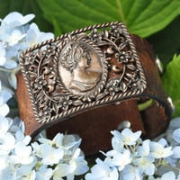 The Elizabeth Leather Buckle Cuff by NestForLife on Etsy