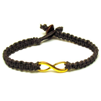 Gold Tone Infinity Bracelet, Dark Brown Macrame Hemp Jewelry for Best Friends or Couples, Made to Order