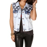Denim American Flag Vest