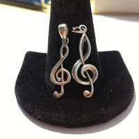 ON SALE Treble Clef Sterling Pendants Charms Silver 925 Musical Note Music Key Stamped Slide Necklace Bracelet Jewelry Vintage Gift Musician