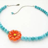 Tangerine turquoise floral necklace Vintage bright by soradesigns