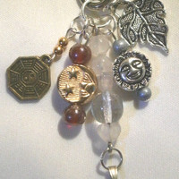 Handmade Bag Charm w/ Rose Quartz Angel by BeadedDelightsByStef