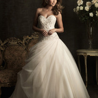 Champange & Silver Organza Embellished Strapless Sweetheart Drop Waist Wedding Gown - Unique Vintage - Cocktail, Evening, Pinup Dresses