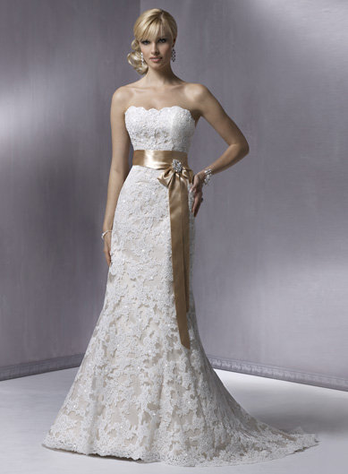 Ivory Lace over Light Gold Strapless Sequin Embellished Karena Royale Wedding Gown - Unique Vintage - Cocktail, Evening, Pinup Dresses