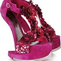 Alexander McQueen Enameled flower suede contoured wedge sandals – 80% at THE OUTNET.COM
