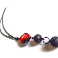 Flame and Lava Rock Necklace by PinkCupcakeJC on Etsy
