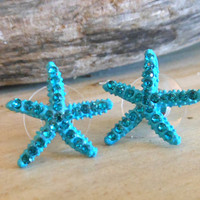 Turquoise Starfish Earrings Stud Earrings by LiveCoastal on Etsy