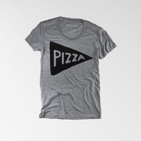 NEW : The Pizza Tee, Womens T shirt, womens Tshirt, american apparel, heather gray track shirt, womans clothing, spring fashion, typography