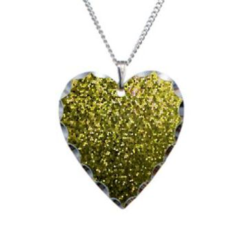 Necklace Heart Charm Gold Mosaic Sparkley 1> Jewelry> Medusa81 GraphicArt