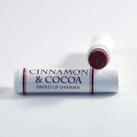 Organic Tinted Lip Shimmer Cinnamon and Cocoa - FREE SHIPPING - lip balm - lipstick
