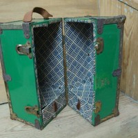 Green Vintage metal doll trunk - LathandPlaster