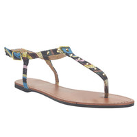 Southwestern Blanket Print T-Strap Sandals | Wet Seal