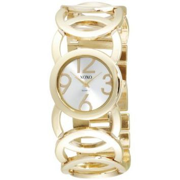 XOXO Women's XO5211 Silver Dial Gold-tone Open Link Bracelet Watch - designer shoes, handbags, jewelry, watches, and fashion accessories | endless.com