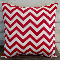 The Emma- 18 X 18 Pillow Cover - Zig Zag In Lipstick Red And White | Luulla
