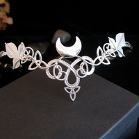 Celtic Leaves Crescent Moon Bridal Wedding Headpiece Tiara Circlet for Hair, Sterling Silver, Handmade