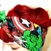 Bow hair tie  Comic The Avengers The Hulk Thor by OhHoneyHush