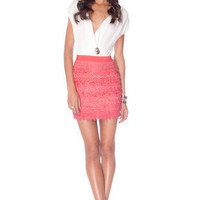 Macrame Eye Combo Dress in Ivory Coral :: tobi