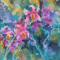 Branching Out - Original Silk Orchid Flower Painting 12 x 9 | DeborahYounglaoSilkArt - Painting on ArtFire