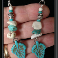 Beautiful TURQUOISE Reconstituted STONE EARRINGS: Dyed Howlite Leaves & Chunky Chips, Silver Plated Spacers, Sterling Silver Earwires
