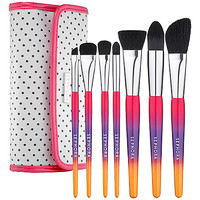 "SEPHORA COLLECTION Hamptons Travel Clutch Brush Set ( Closed 1 1/2""W x 8 1/4""H x 4""L Open 12 1/2'' W)"