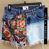 High Waisted Festival Shorts Embroidered BOHO Dip Dyed Size 30 Festval Indie Style //SuzNews Etsy Store//